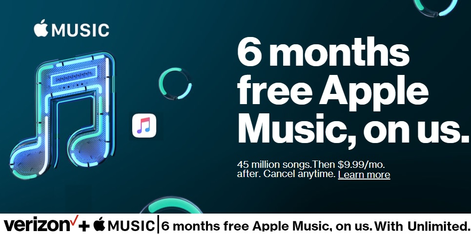 Verizon Wireless 6 Months Free Apple Music Promo Deal 2018